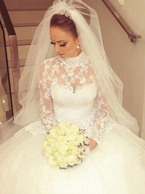 Dancing Queen Ball Gown High Neck Cathedral Train With Sash/Ribbon/Belt Lace Wedding Dresses