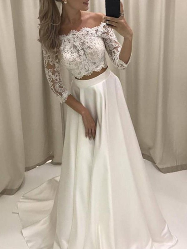 Memorable Magic Princess Style Off-the-Shoulder Court Train With Applique Satin Wedding Dresses