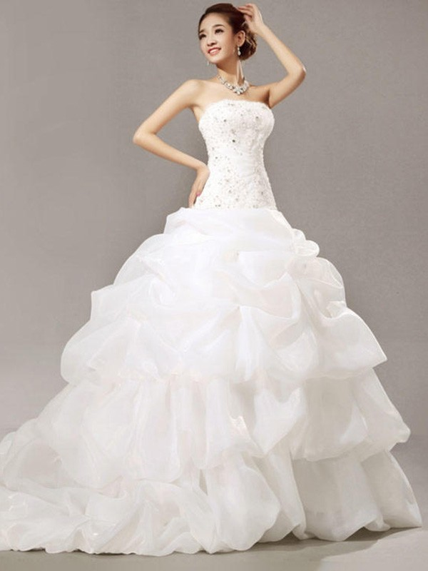 Romantic Vibes Ball Gown Strapless Cathedral Train With Beading Lace Pleats Organza Wedding Dresses