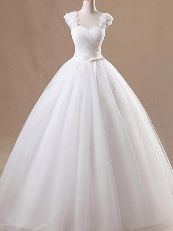 Easily Adored Ball Gown Square Floor-Length With Ruffles Tulle Wedding Dresses