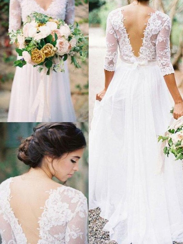 Absolute Lovely Princess Style V-neck Floor-Length With Applique Lace Chiffon Wedding Dresses