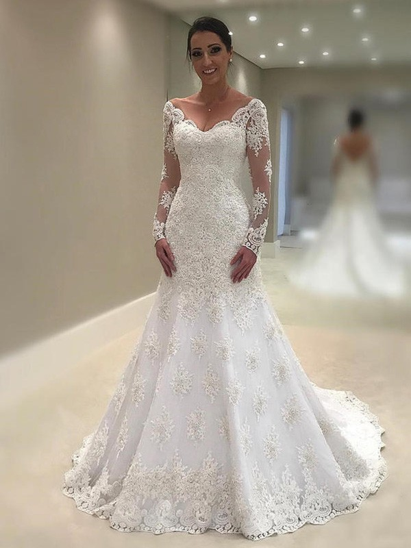 Treasured Reveries Mermaid Style V-neck Court Train With Applique Lace Wedding Dresses