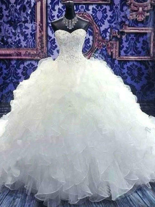 Voiced Vivacity Ball Gown Sweetheart Chapel Train With Beading Sequin Organza Wedding Dresses