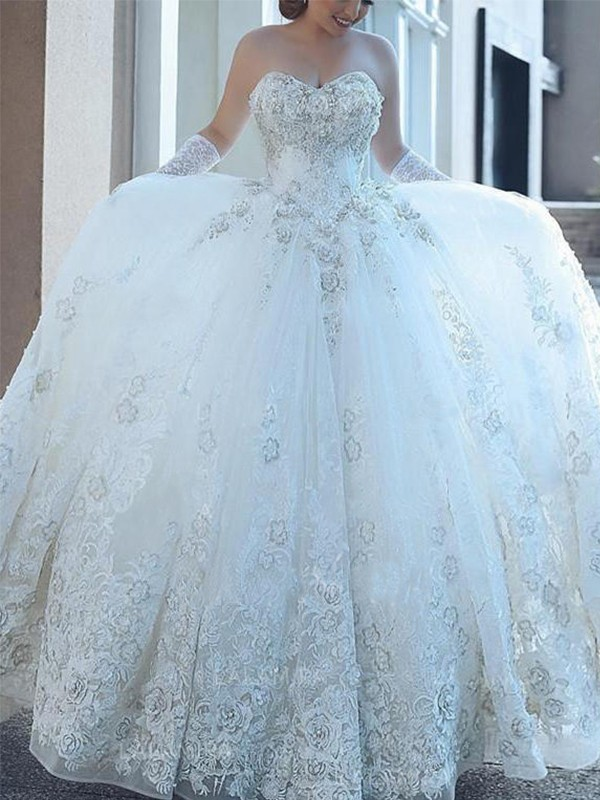 Styled to Smile Ball Gown Sweetheart With Applique Tulle Cathedral Train Wedding Dresses