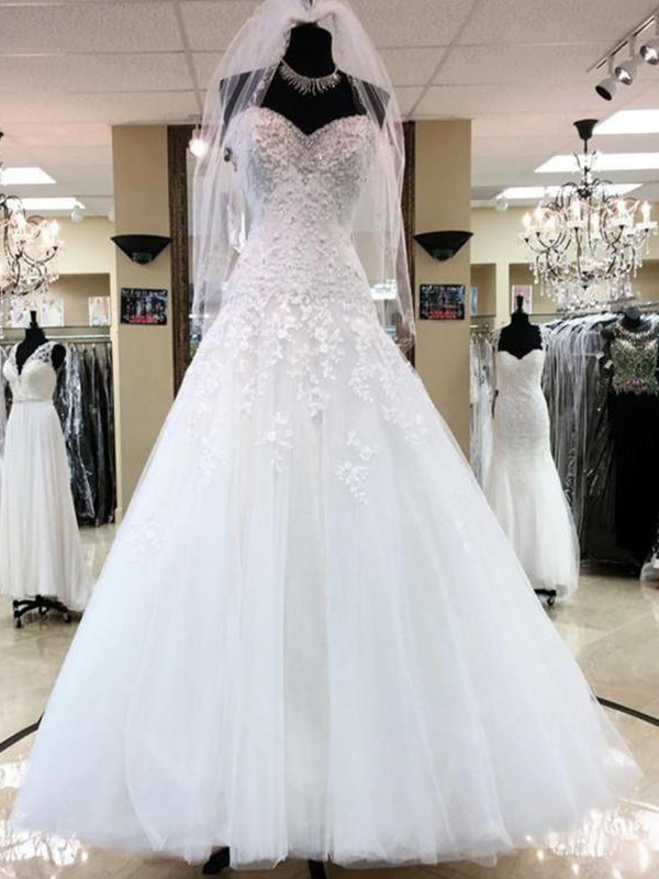 Confident Option Ball Gown Sweetheart With Applique Tulle Floor-Length Wedding Dresses