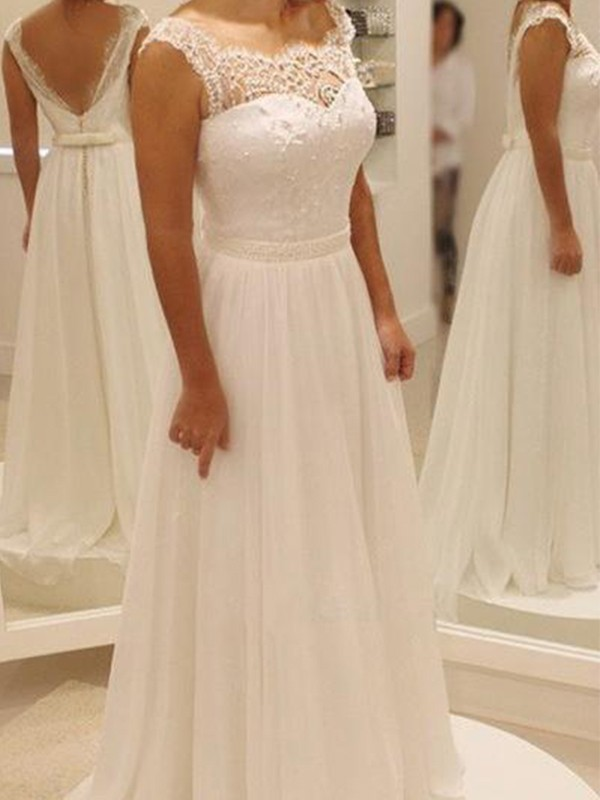 Vibrant Stylist Princess Style Chiffon With Bowknot Lace Scoop Sweep/Brush Train Wedding Dresses