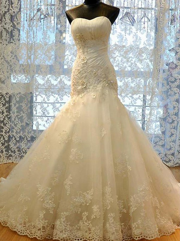 Befits Your Brilliance Mermaid Style Sweetheart Tulle With Applique Court Train Wedding Dresses
