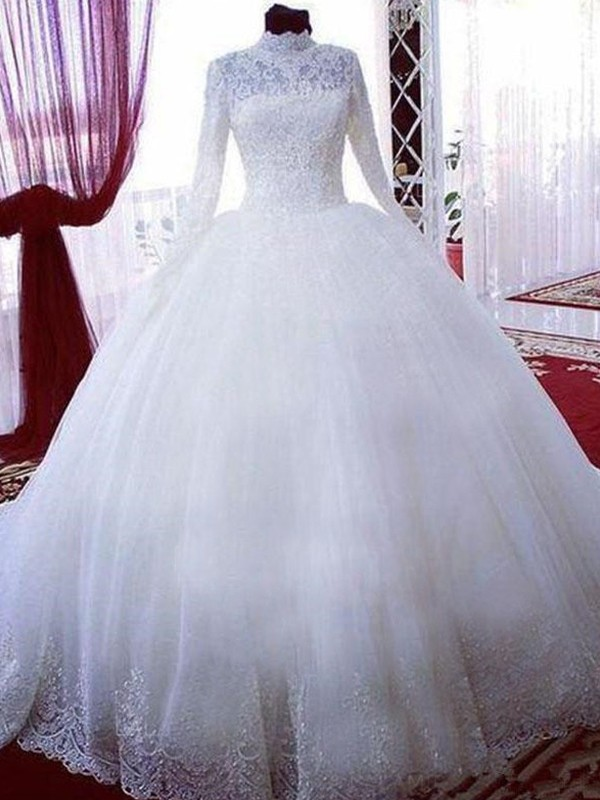 Voiced Vivacity Ball Gown With Lace Tulle High Neck Chapel Train Wedding Dresses