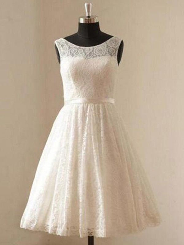 Dancing Queen Princess Style Scoop Lace With Sash/Ribbon/Belt Knee-Length Wedding Dresses