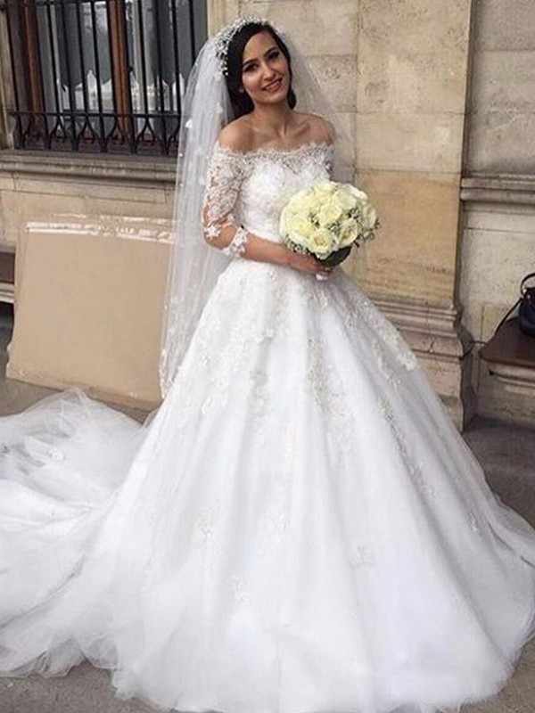 Eye-Catching Charm Ball Gown Tulle Off-the-Shoulder With Applique Chapel Train Wedding Dresses