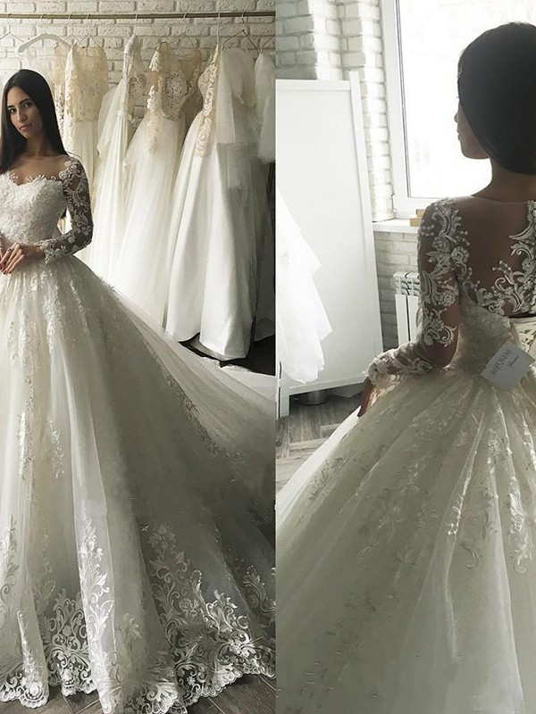 Intuitive Impact Ball Gown Tulle Scoop With Applique Court Train Wedding Dresses