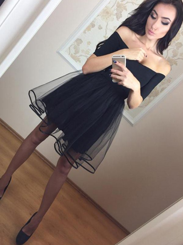 Limitless Looks Princess Style Off-the-Shoulder Tulle Short/Mini Dresses