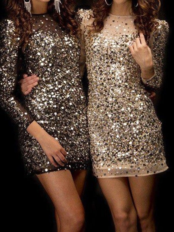 Sweet Sensation Sheath Style Bateau Sequins With Beading Short/Mini Dresses