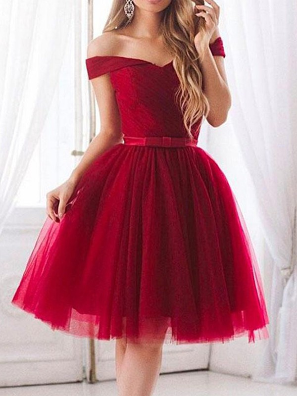Too Much Fun Princess Style Tulle With Ruffles Off-the-Shoulder Knee-Length Dresses