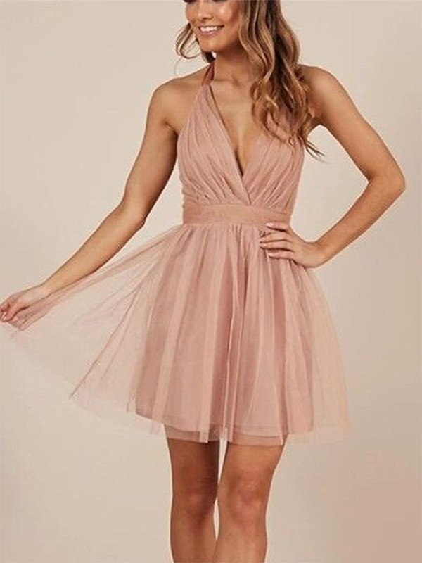 Stylish Refresh Princess Style Halter Tulle With Ruffles Short/Mini Dresses
