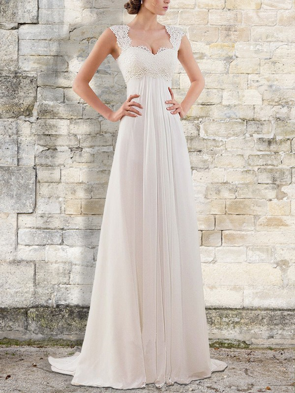 Efflorescent Dreams Empire Sweep/Brush Train Bateau Chiffon Wedding Dresses