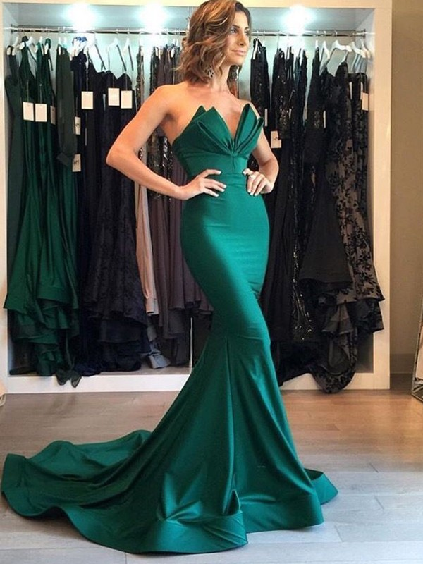 First Impressions Mermaid Style V-neck Court Train Satin Dresses