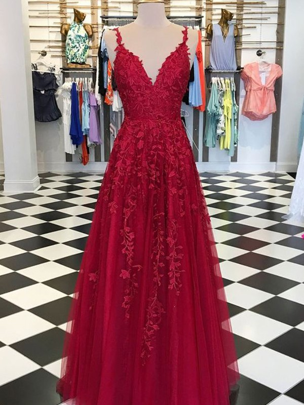 Embracing Grace Princess Style V-neck Floor-Length With Applique Tulle Dresses