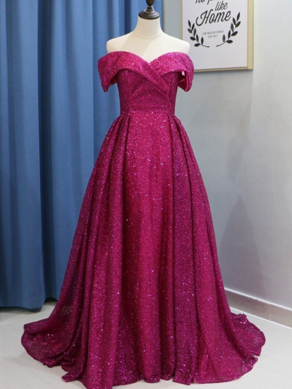 Befits Your Brilliance Ball Gown Off-the-Shoulder Sweep/Brush Train Ruffles Sequins Dresses