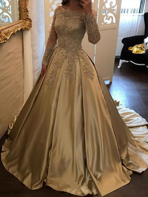 Festive Self Ball Gown Off-the-Shoulder Sweep/Brush Train Applique Satin Dresses