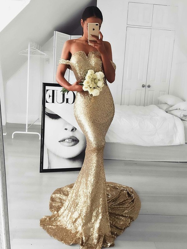 Pleasant Emphasis Trumpet/Mermaid Style Off-the-Shoulder Sweep/Brush Train Ruffles Sequins Dresses