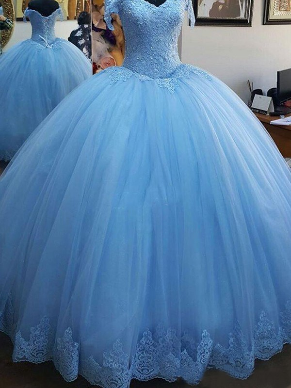 Treasured Reveries Ball Gown Off-the-Shoulder Sweep/Brush Train Lace Tulle Dresses