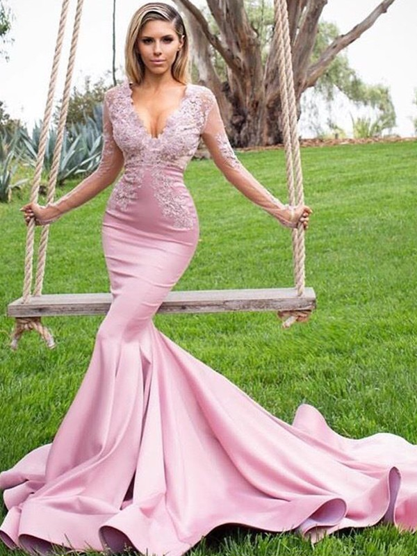 Pretty Looks Mermaid Style V-neck Sweep/Brush Train Applique Satin Dresses
