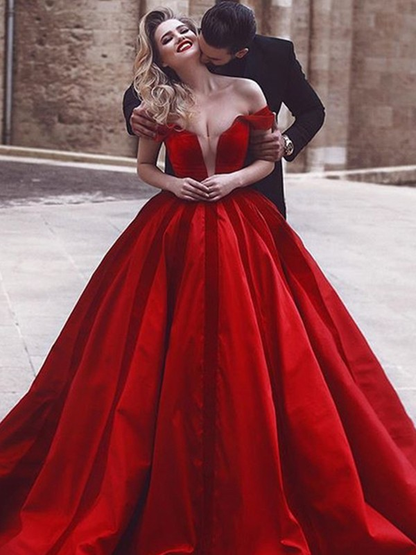 First Impressions Ball Gown Off-the-Shoulder Sweep/Brush Train Ruffles Satin Dresses