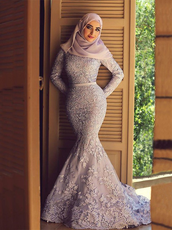 Open to Adoration Mermaid Style Scoop Sweep/Brush Train Ruffles Lace Muslim Dresses