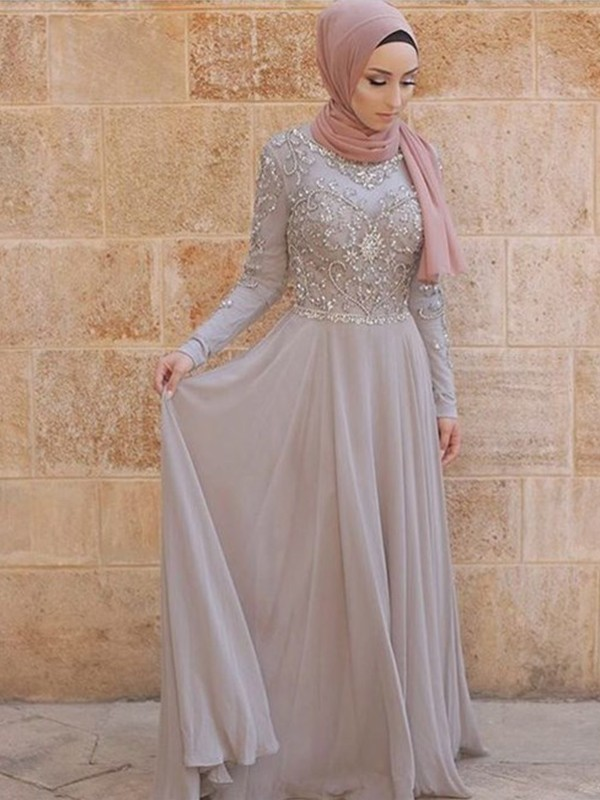 Vibrant Stylist Princess Style Scoop Sweep/Brush Train Crystal Tulle Muslim Dresses