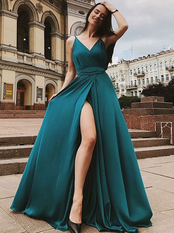 Memorable Magic Princess Style Straps Sweep/Brush Train Ruffles Satin Chiffon Dresses
