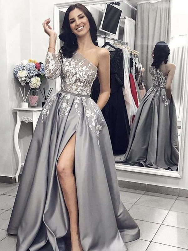 First Impressions Princess Style Sleeveless One-Shoulder Sweep/Brush Train Applique Satin Dresses