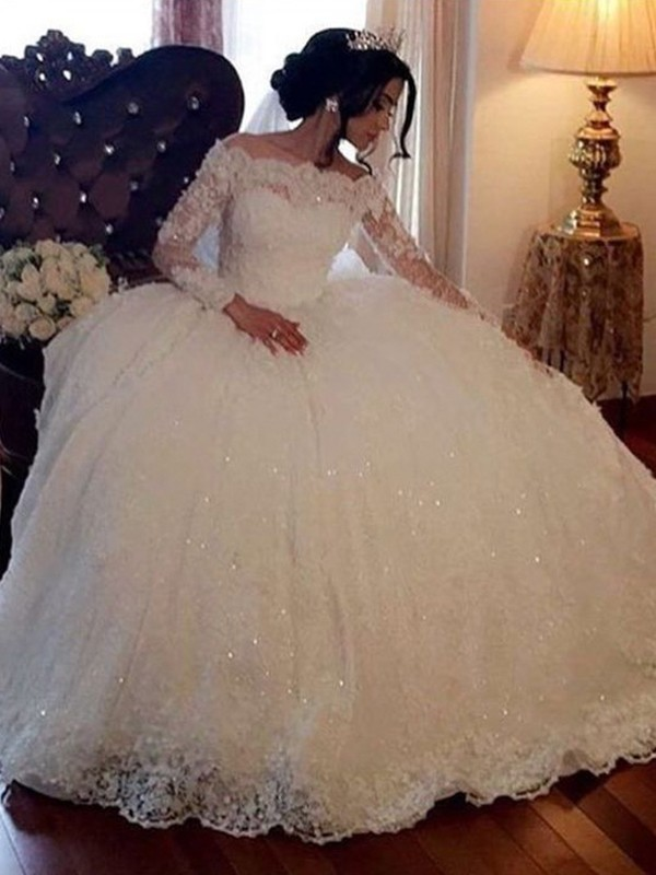 Pleasant Emphasis Ball Gown Bateau Long Sleeves Floor-Length Lace Lace Wedding Dresses