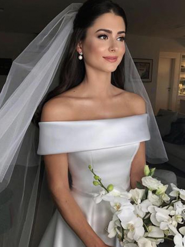 First Impressions Princess Style Off-the-Shoulder Sleeveless Sweep/Brush Train Ruffles Satin Wedding Dresses