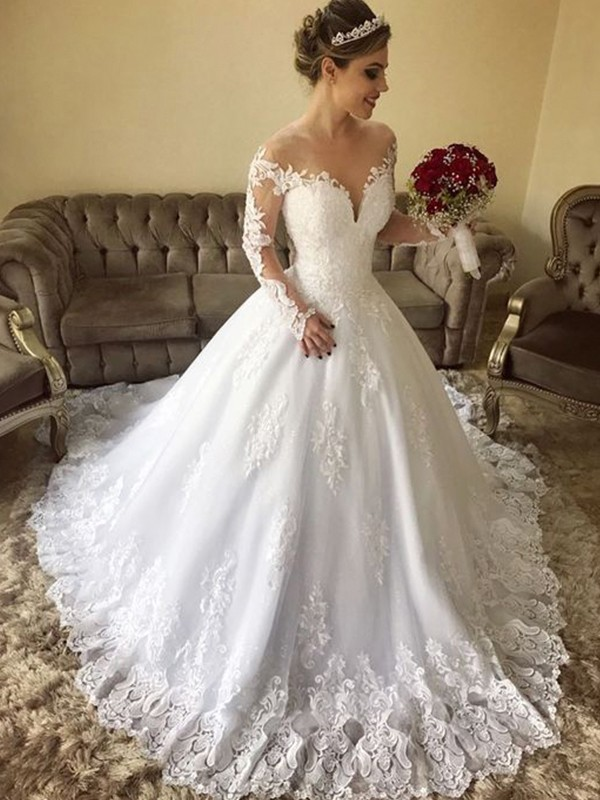Visual Moment Ball Gown Off-the-Shoulder Long Sleeves Sweep/Brush Train Lace Tulle Wedding Dresses