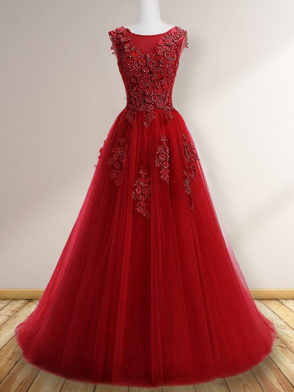 Absolute Lovely Princess Style Scoop Sleeveless Sweep/Brush Train Applique Tulle Dresses