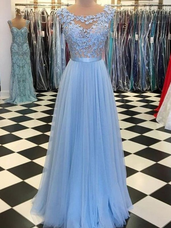 Sweet Sensation Princess Style Scoop Sleeveless Floor-Length Applique Tulle Dresses