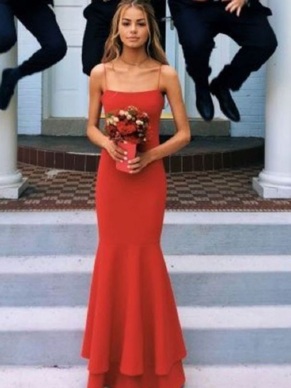 Savor the Occasion Sheath Style Spaghetti Straps Floor-Length With Layers Stretch Crepe Dresses