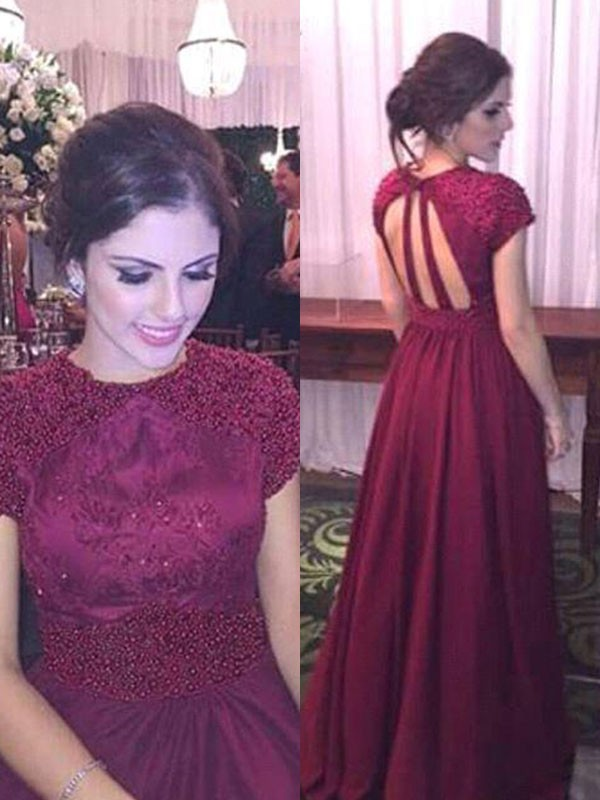 First Impressions Princess Style Short Sleeves Sheer Neck Floor-Length With Beading Satin Dresses