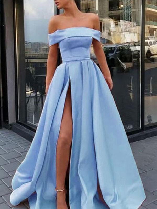 Stylish Refresh Princess Style Off-the-Shoulder Sweep/Brush Train With Ruffles Satin Dresses