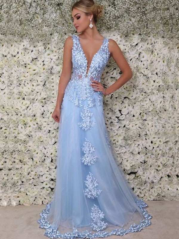 Just My Style Princess Style V-neck Floor-Length With Applique Tulle Dresses