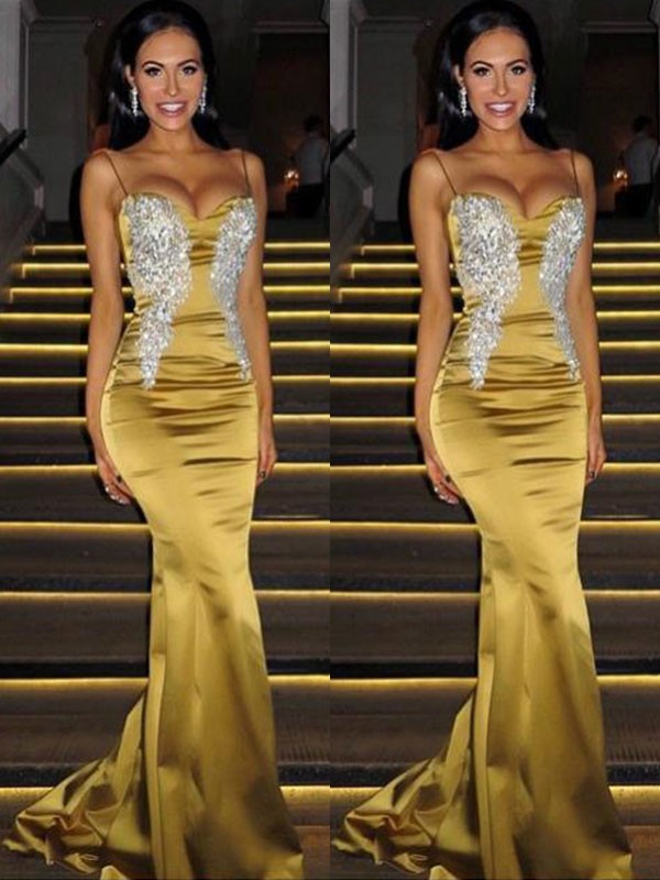 Defined Shine Mermaid Style Spaghetti Straps Sweep/Brush Train With Beading Satin Dresses