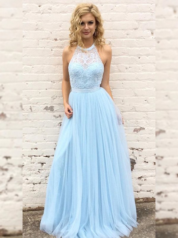 Dashing Darling Princess Style Tulle Lace Halter Floor-Length Dresses