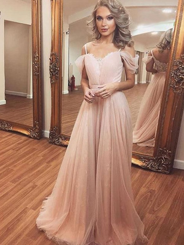 Time to Shine Princess Style Tulle With Ruched Off-the-Shoulder Sweep/Brush Train Dresses