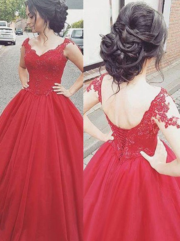 Defined Shine Ball Gown V-neck Floor-Length With Applique Satin Dresses