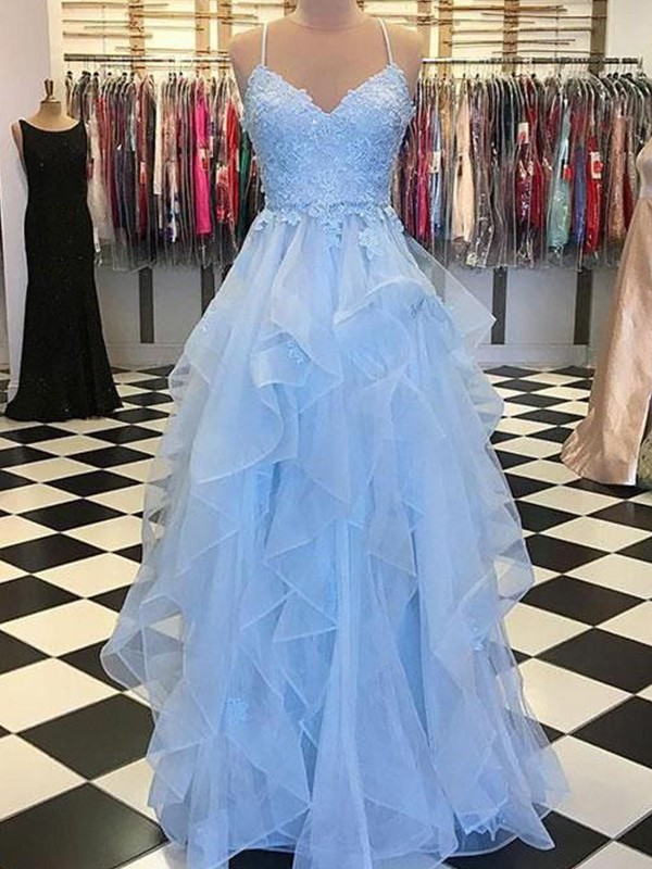 Pleased to be Me Princess Style Spaghetti Straps Floor-Length With Applique Organza Dresses