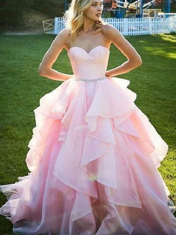 Confident Option Ball Gown Sweetheart Floor-Length With Beading Organza Dresses