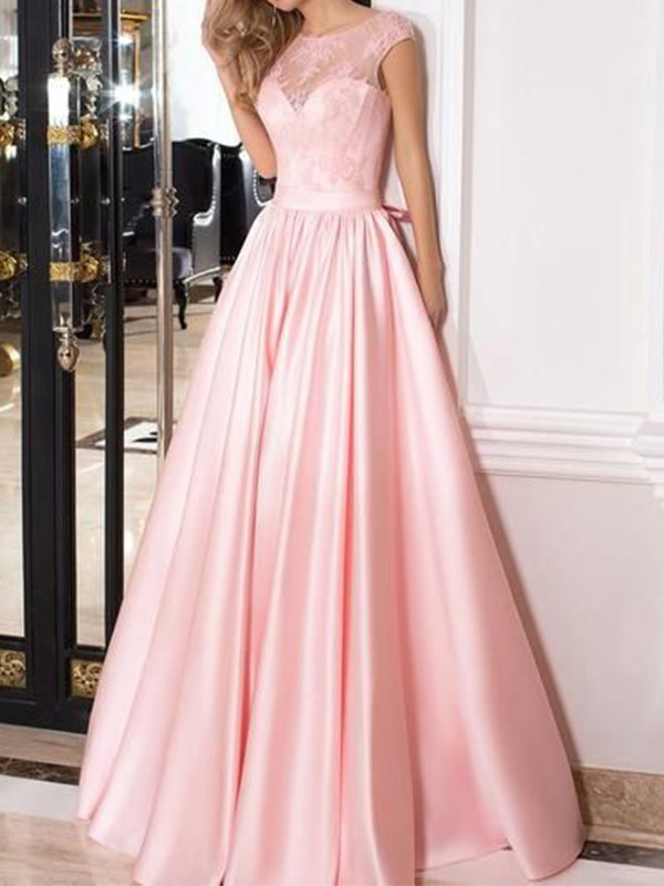 Too Much Fun Princess Style Sheer Neck Floor-Length Lace Satin Dresses