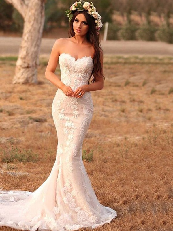 b9315dc3427 Memorable Magic Mermaid Style Lace With Applique Sweetheart Sweep Brush  Train Wedding Dresses