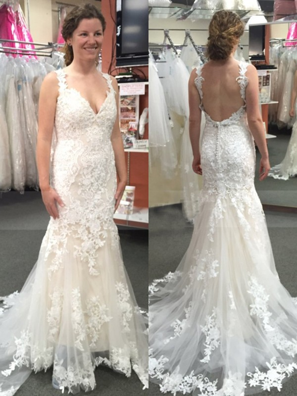Defined Shine Mermaid Style Tulle With Applique Straps Sweep/Brush Train Wedding Dresses